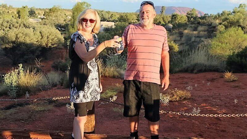 Toasting the sunset at Uluru