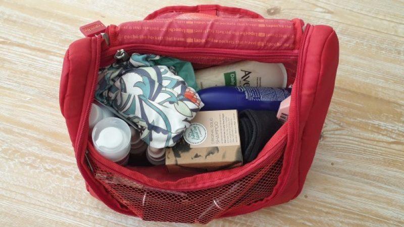 travel toiletries in bag