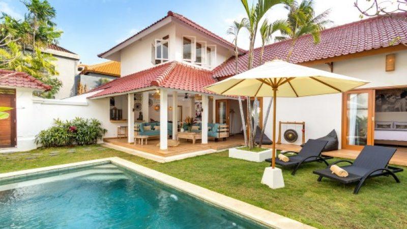 pool outside villa accommodation